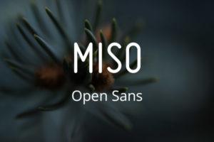 Schriftpaare für Website und Social Media: Miso und Open Sans.