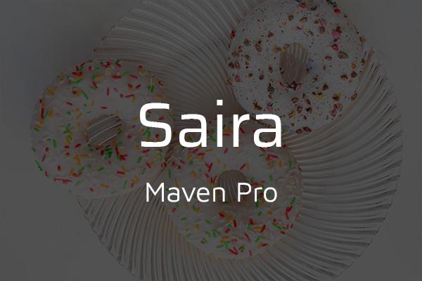 Schriftpaare für Website und Social Media: Saira und Maven Pro.