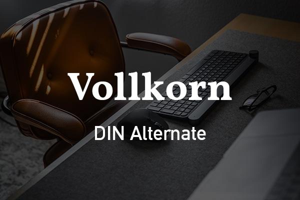 Schriftpaare für Website und Social Media: Vollkorn und DIN Alternate.