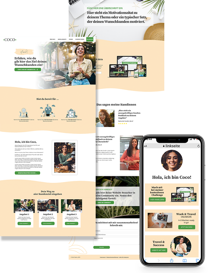 Onepager Website Template Stil Coco